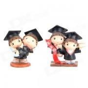 9419 graduados feliz figura Resina Toy - Negro + Brown (2 PCS)