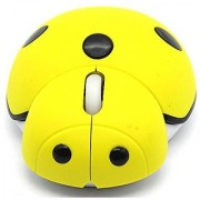 PCTC Lovely Cartoon Beetle Cute Mouse for Desktop Computers Laptops Wireless Mouse with Lovely Pattern (Yellow)