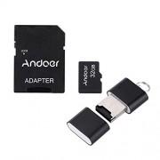 Andoer 32GB Classe 10 Memory Card TF Card + Adattatore + Lettore di Schede Flash USB per la Macchina Fotografica dell'automobile della Macchina Fotografica del Telefono delle Cellule Tabella PC GPS