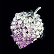Sparkling Purple Juicy Strawberry Fruit Swarovski Crystal Brooch