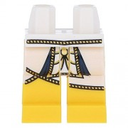 LEGO Minifig Parts: White Hips and Yellow Legs with Gold Cord Trimmed Pharaoh's Tunic Pattern x10 Loose