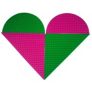 Premium Double Sided Half Circle and Triangle Baseplate Mat 4 Pack - Pink and Green Roll Up Base Plate with Large and Small Pegs - (Compatible with LEGO and DUPLO )