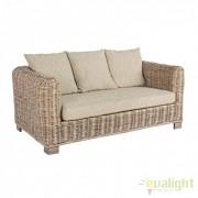 Canapea design natural din lemn de mango si rattan IN& OUT FORTALEZA 2 locuri 0671631 BZ