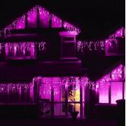 LED Fényjégcsap átlátszó vezetékes 5m pink