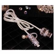 Cable USB Cable de carga para dispositivos Android y Ipone Línea USB lujoso Combo-Blanco