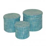 Opbergboxen (3-delig) - rond, blauw, Flechtwaren Müller