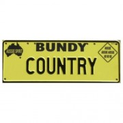 """""""Novelty Number Plate - Bundy Country Black On Yellow New Series"""""""