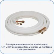 """Tubos montaje aire acondicionado 1/4"""" y 3/8"""" 3m abocardado con tuercas"""