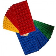 Premium Big Briks Blue Green Red and Yellow Baseplate Set - 24 Pack (Big LEGO DUPLO Compatible) - Large Pegs