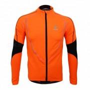 ARSUXEO Hombre de manga larga chaqueta de beisbol chaqueta de ciclismo - naranja (3XL)
