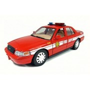 2007 Ford Crown Victoria Fire Chief, Red W/ White Stripes Motor Max 76458 1/24 Scale Diecast Model Toy Car