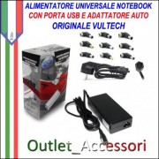 Alimentatore Caricabatterie Universale Notebook Acer Asus Samsung Hp con USB e Auto