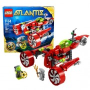 Lego Atlantis Series Vehicle Set # 8060 - TYPHOON TURBO SUB with Key Grabbing Claw Torpedo Shooter and Flick Fire Missiles Plus Yellow Atlantis Treasure Key Shark Warrior and Heroic Diver Minifigures (Total Pieces: 197)
