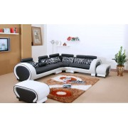 items-france XENON - Canape en cuir noir et blanc 5 places + pouf 292x246x81