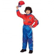 Jr. Champion Racing Suit with Cap Costume in Red / Blue Size: Size 12 / 14