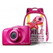 Aparat foto Nikon Coolpix W100, pink + rucsac