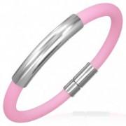 Gömbölyű gumi karkötő - fényes fémtábla, rózsaszín