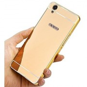 Oppo A37 Case Cover Luxury Metal Bumper + Acrylic Mirror Back Cover Case For Oppo A37 - Gold
