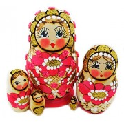 Matryoshka Floral Beaded Pink 5 Piece Nested Matreshka Stacking Nesting Dolls 4 Inch