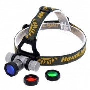 Lanterna Frontala LED 3W cu Zoom, Acumulator, Lentile Colorate MXK9
