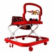 Pegaso Chunmun Baby Walker Red- Height Adjustable Soft Cushion Play Tray