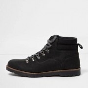 River Island Black leather lace-up work boots
