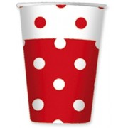Pahare 80 ml Pois Rosu 10 buc/Set Big Party