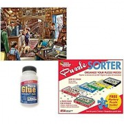White Mountain Puzzles 1000 Piece The Old Book Store Adult Jigsaw Puzzle with Puzzle Accessories including 6 Puzzle Sorter Trays Mystery Puzzle and Puzzle Glue Kit.