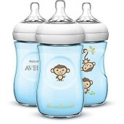 Avent BPA Free 3 Pack 9 Ounce Decorated Natural Bottle - Blue Monkeys - BC994812
