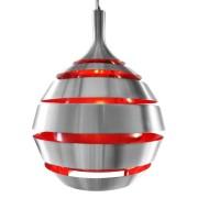 Design hanglamp 'COSMO' uit geborsteld aluminium met rode binnenkant