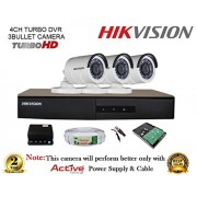 Hikvision DS-7204HGHI-F1 720P (1MP) 4CH Turbo HD DVR 1Pcs + Hikvision DS-2CE16COT-IR Bullet Camera 3Pcs + 1TB HDD + Active Copper Cable + Active Power Supply Full Combo Kit.