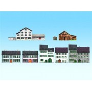 All Scale Cd Rom Background Building (Relief Building) & 10 Cardstock Sheet Kit For Ho, N, Tt & Z Scales 6 Alpine Styled Buildings