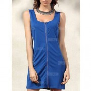 GearBest Alluring Low Cut Bodycon Women's Zip Dress