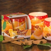 Üveggyertya fahéjas és narancsos