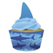 Decorazione per Cupcake - design Squali - copri pirottino e topper (set da 12 pezzi)