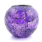 Vaza rotunda din sticla mozaic mov - mare
