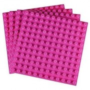 Strictly Briks Premium Pink 7.5 X 7.5 Large Size Pegs Construction Base Plates - 4 Pack Bundle - (LEGO DUPLO Compatibl