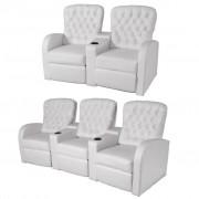 """vidaXL """"vidaXL Fotele kinowe 2 + 3 osobowe, sztuczna skóra, biała"""""""