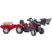 FALK Červený Traktor s Bagrovací Lžicí a Valníkem