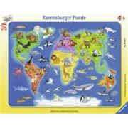 Puzzle Harta Lumii Cu Animale, 30 Piese