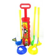 Golf Set Toy For Children Golfing Club With 3 Clubs 4 Balls 2 Practice Holes 2 Tees And 2 Flags Golfing Set Color Red Brand New