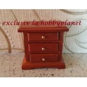 Noptiera din lemn furnir de nuc - miniatura