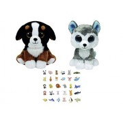 Stuffed Animals Beanie Boos Bundle of 2 Small Regular (6-in) Plush Toys Dog and Husky with One Bonus Animal Eraser