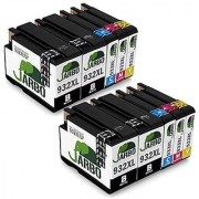 JARBO Replacement For HP 932 933 Ink Cartridges 2Sets+2Black High Yield 10 Packs(4 Black 2 Cyan 2 Magenta 2 Yellow) Compatible With HP Officejet 6700 6600 6100 7110 7610 7612 Printer