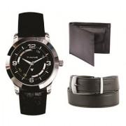 Combo of watch wallet belt (TW-07 black belt wallet)