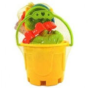 Beach Fun Toy Set: 7 Piece Sand & Water Play Set: Includes Shovels Sand Molds and Bucket