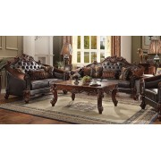 2 pc vendome ii collection cherry finish wood and two tone dark brown vinyl upholstery sofa and love seat set