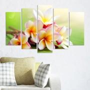 Декоративен панел за стена с нежни цветя в бяло и жълто Vivid Home