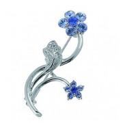 "Брошка ""Flowers blue"" - родий + син"