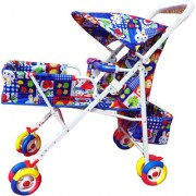 Kusum Blue Baby Stroller With Colorful Wheels